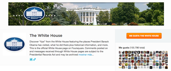 White House en Foursquare