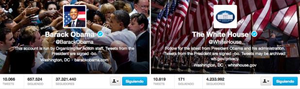 Encabezados del Twitter de la Casa Blanca y Barack Obama