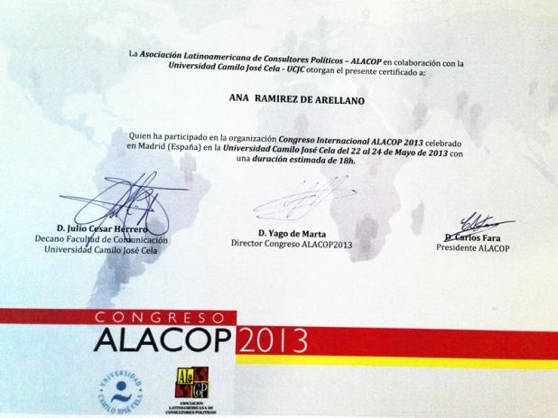 Certificado de asistencia al Congreso ALACOP 2013