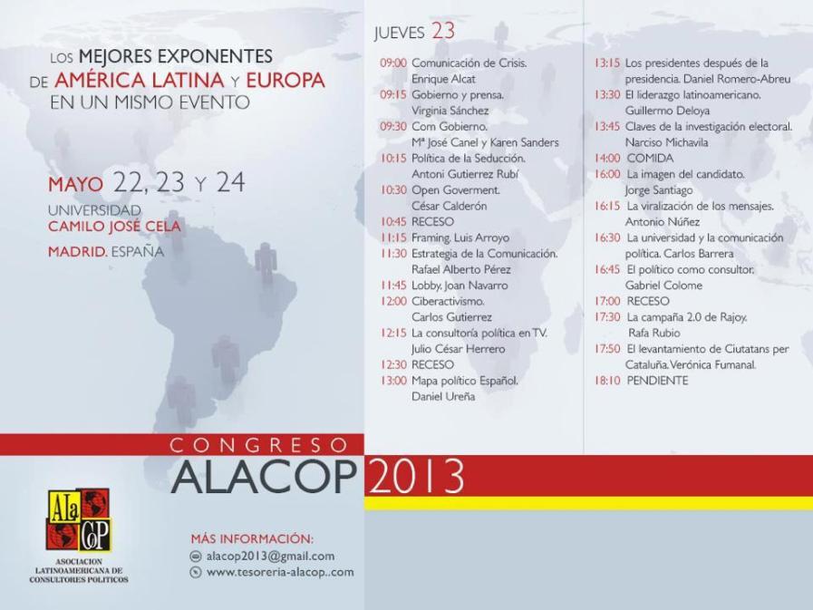 Calendario Congreso ALACOP 2013.