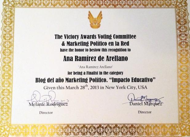 """Arellano Comunicación quedó finalista como Blog Político del Año 2013 en la categoría de """"Impacto Educativo"""""""
