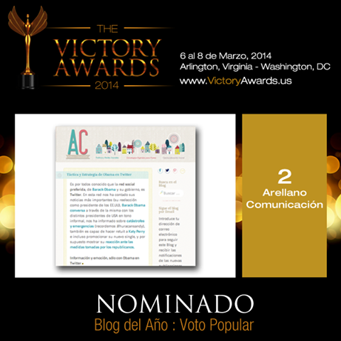 Arellano Comunicación nominado como Blog Político 2014 en los Victory Awards