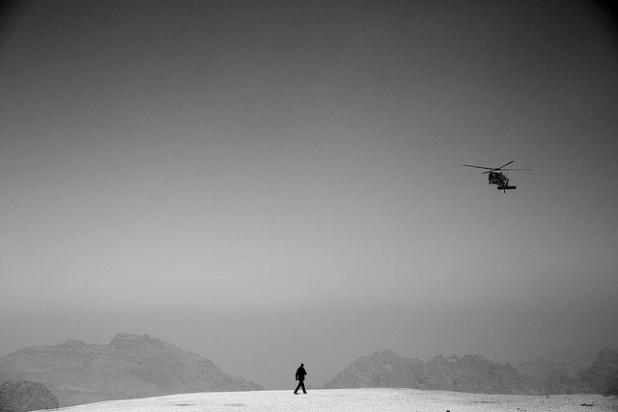 El helicóptero del Presidente Obama en Petra. Créditos: Pete Souza