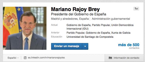 Mariano Rajoy, presidente del gobierno de España y Ana Ramírez de Arellano son contactos de 1 orden en LinkedIn.