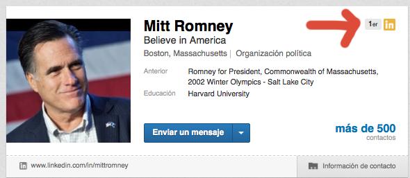 Mitt Romney y Ana Ramírez de Arellano son contactos de 1 orden en LinkedIn.