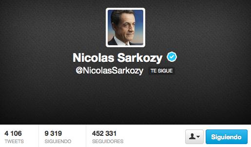 Nicolas Sarkozy sigue el Perfil de Ana Ramírez de Arellano en Twitter.