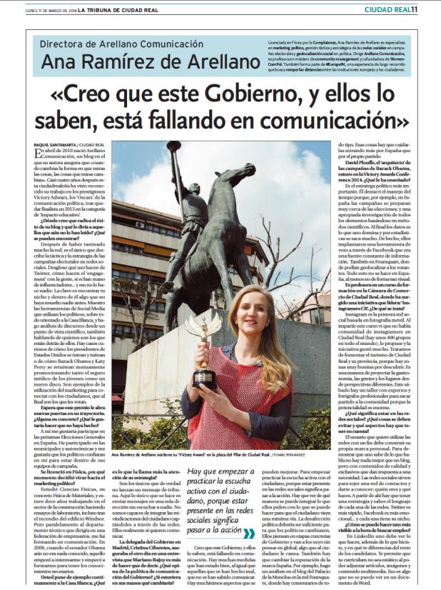 entrevista en la tribuna a Ana Ramírez de Arellano