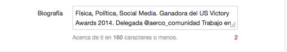 Biografia de Twitter en 160 caracteres
