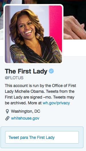 Biografia en Twitter de Michelle Obama.
