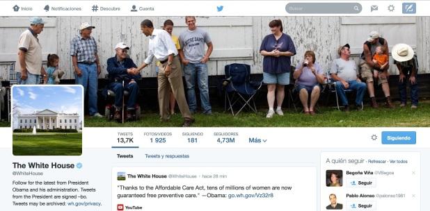 Twitter de la Casa Blanca con nuevo diseño.