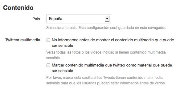 Configurar el contenido sensible en Twitter.