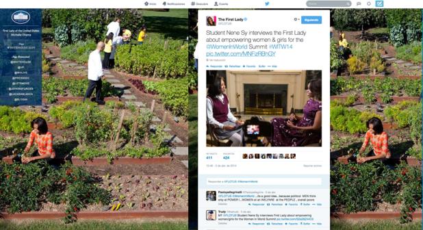 Conversacion en Twitter de Michelle Obama con fondo personalizado.