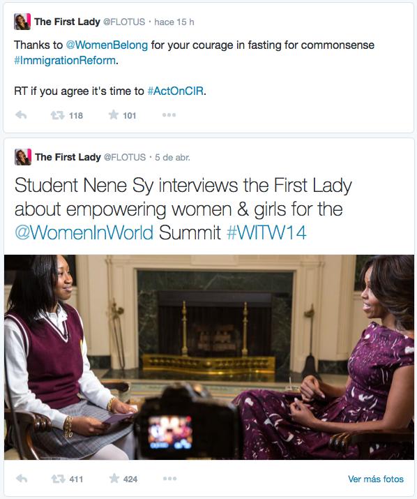 Mejores Tweets Michelle Obama destacados en el tamaño de la letra.