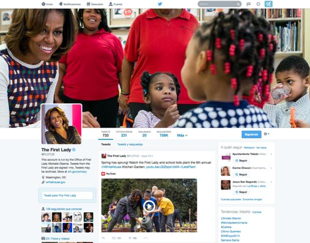 Michelle Obama muestra antes que Barack Obama el nuevo diseño en Twitter