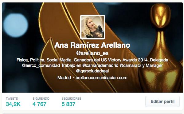 Perfil en Twitter de Ana Ramírez de Arellano.