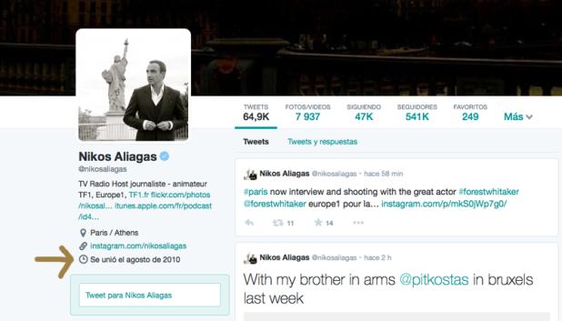 Perfil en Twitter de Nikos Aliegas.