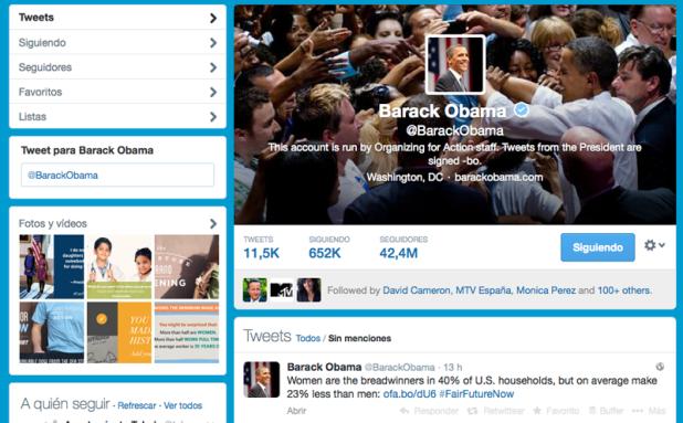Perfil en Twitter de Barack Obama sin el nuevo diseño.