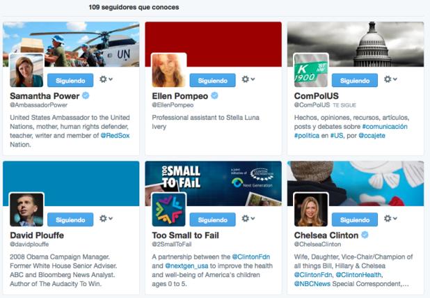 Seguidores de Michelle Obama a los que yo también sigo, seguidores que conoces.