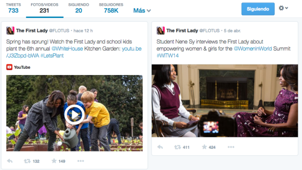 Tweets de Michelle Obama filtrados por fotos.