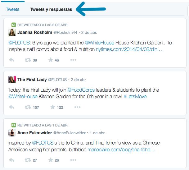 Tweets de Michelle Obama filtrados con respuestas.