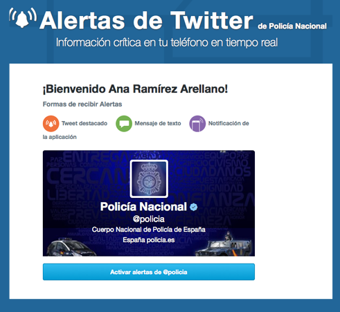 Alertas de Twitter en España en tiempo real