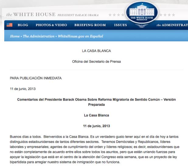 Artículos de La Casa Blanca en español