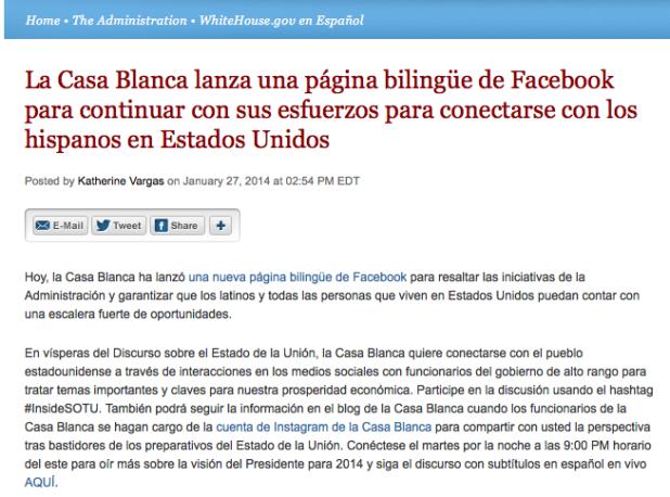 Blog de La Casa Blanca en español