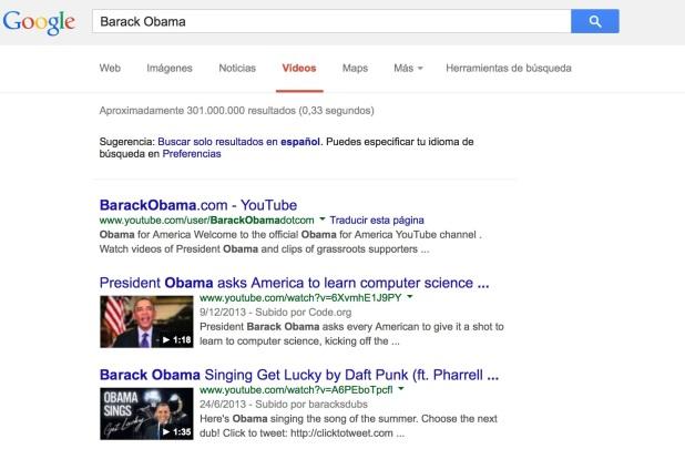 Búsqueda de Barack Obama en Google