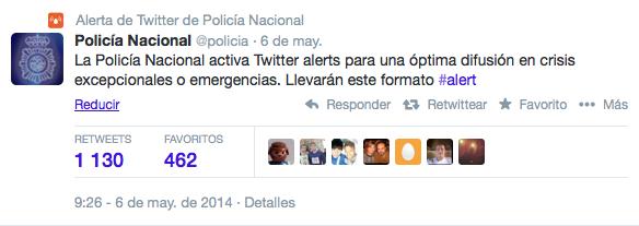 Ejemplo de alerta de Twitter de Policía Nacional