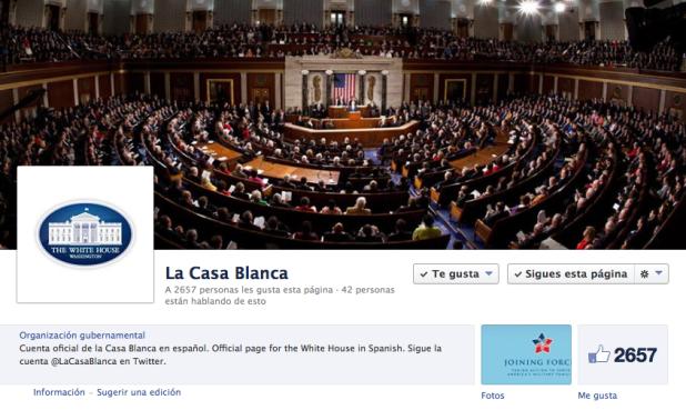Facebook de La Casa Blanca en español