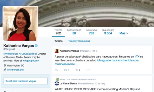 Katherine Vargas Cuenta Oficial de Twitter de La Casa Blanca en español