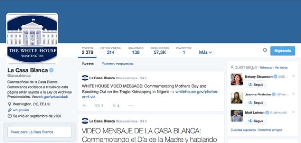 Twitter de La Casa Blanca en español