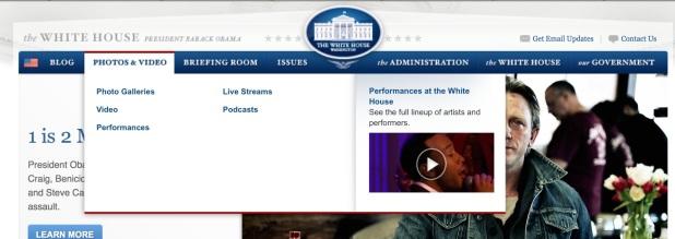 Videos en la web de la Casa Blanca