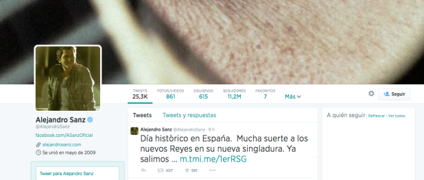 Alejandro Sanz invitado en la Proclamacion de Felipe VI