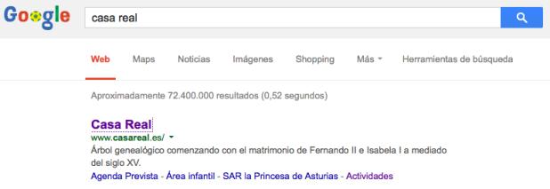 Búsqueda en Google de la Casa Real