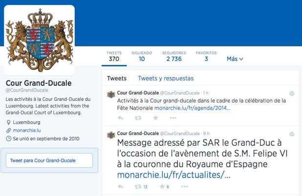La Corona de Luxemburgo deja un mensaje por Twitter a FelipeVI