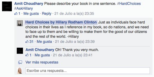 Preguntas a Hillary Clinton en Facebook