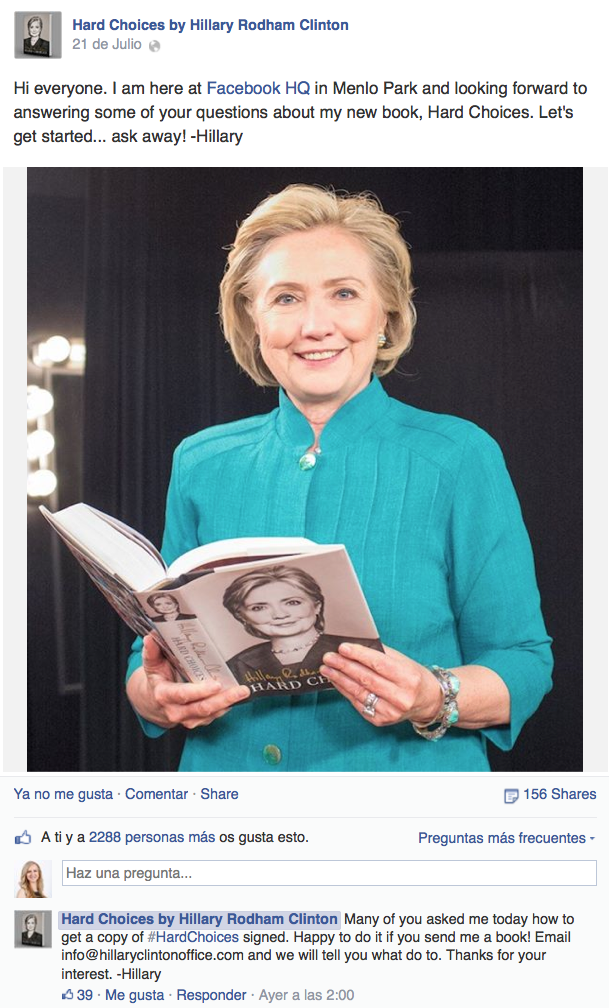 Hillary responde en Facebook