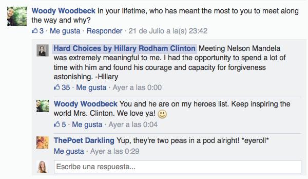 Preguntas a Hillary Clinton en Facebook.