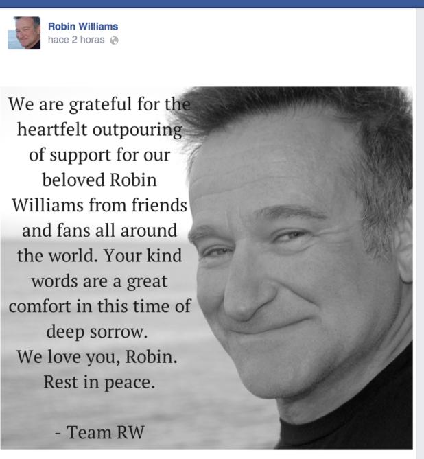Mensaje en Facebook del equipo de Robin Wiliams